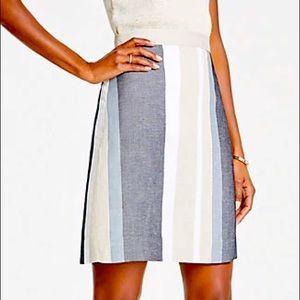 Ann Taylor Striped A-Line Skirt Linen Blend